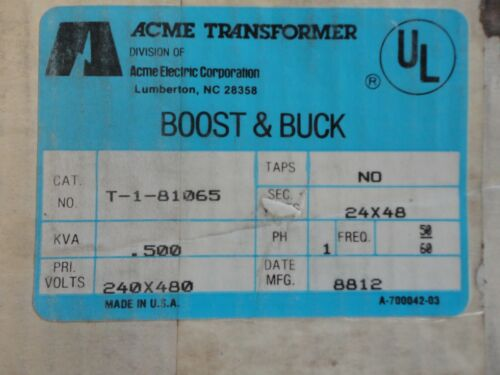 """NEW"" ACME Transformer #T-1-81065 .500 kva  Buck & Boost Style SE Indoor Type 2"