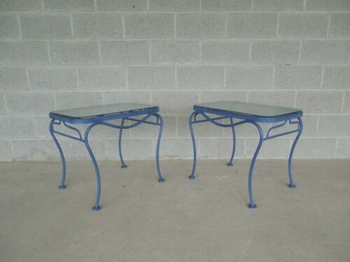 Vintage Woodard Hampton Park Pair Glass Top End Tables Model #1A052903