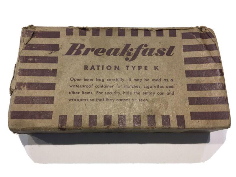 Original WWII U.S. Army Field Breakfast Ration Type K By Kellog Company