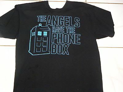DOCTOR WHO THE ANGELS HAVE THE PHONE BOX  Large BLACK T-SHIRT