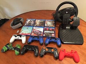 PS4 GAMES, CONTROLLERS, HEADSET & RACING WHEEL!