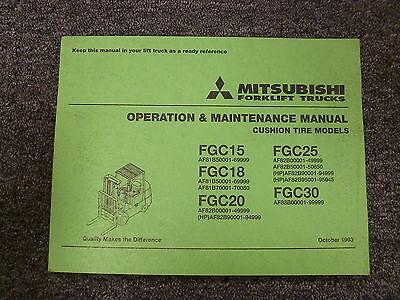 Mitsubishi Fgc15 Fgc18 Fgc20 Forklift Truck Owner Operator Maintenance Manual