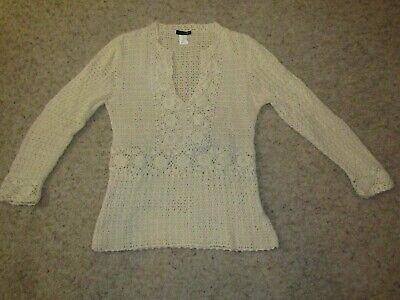 Knit Rose Pattern - J. Crew Crochet Ivory Rose Pattern Open Knit Cotton Sweater V-Neck S