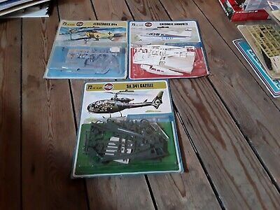 AIRFIX VINTAGE 1/72 AIRCRAFT LOT---ALBATROSS/CHEROKEE ARROW/GAZELLE