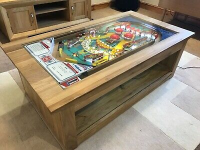 Pinball Machine Coffee Table - Solid Oak Table - 1976 Williams Aztec PlayField.
