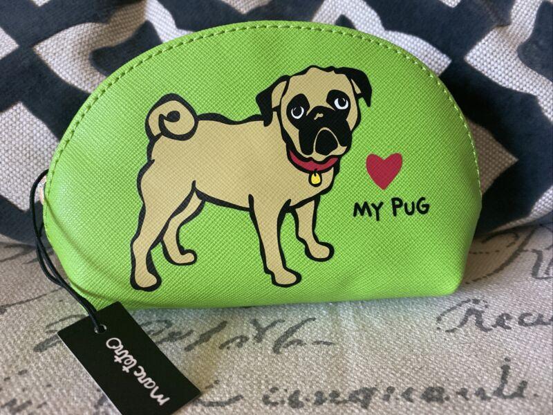 Pug Dog Marc Tetro Change Purse Wallet Makeup Case 5.5 X 4 Green NEW