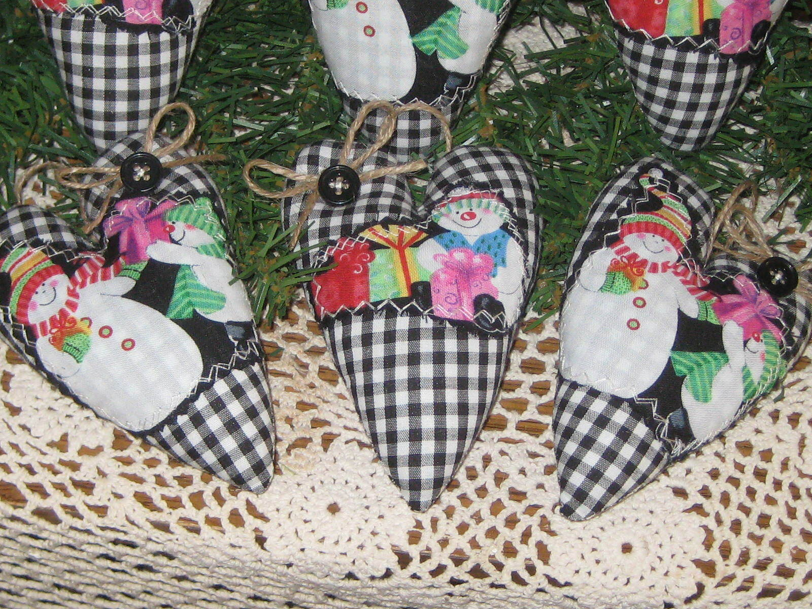 6 Snowmen Hearts Gingham Fabric Appliqued Country Christmas Decor Tree Ornaments - $21.95