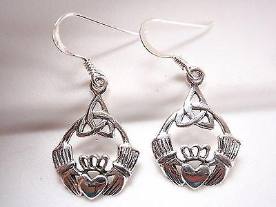 (Claddagh Celtic Infinity Earrings 925 Sterling Silver Dangle Corona Sun Jewelry)