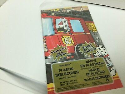Fire Department / Fireman Fire Truck Party Supplies PLASTIC TABLECOVER (Fire Party Supplies)