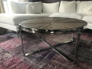 6ff5427ee555 Elte Distressed Wood and Chrome Coffee Table