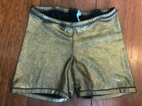 girls GOLD DANCE GYMNASTICS SHORTS spandex FITTED foil NICE  YOUTH MEDIUM 7/8