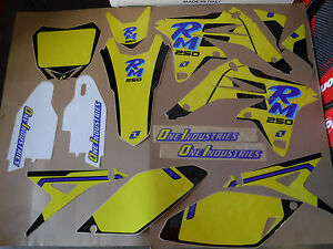 One Industries Retro Team graphics with number plates RMZ250 2010-2018