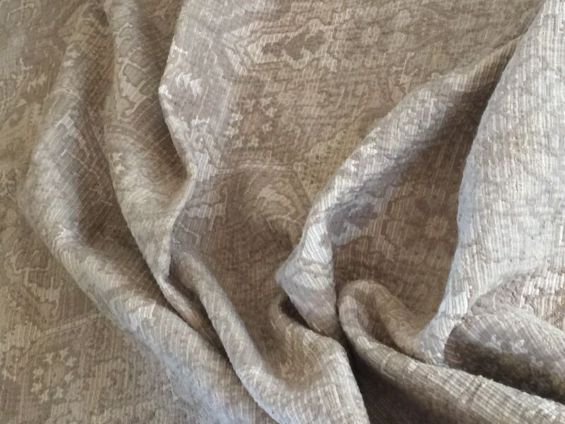 Antique France Victorian Textile Pastel Ivory Olive Colors Heavy Fabric 48W X 36