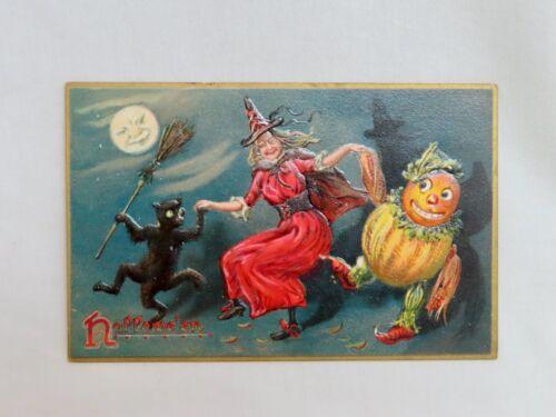 Vintage Raphael Tuck 150 Halloween Postcard Dancing Witch - 80770
