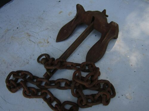Old Rusty Small Anchor & Chain # 5 Navy Design Nautical Decor 7 1/4 lb