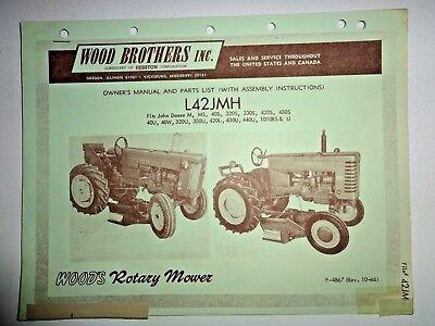 Woods L42jmh Rotary Mower Operators Parts Manual John Deere M 40 420 430 Tractor