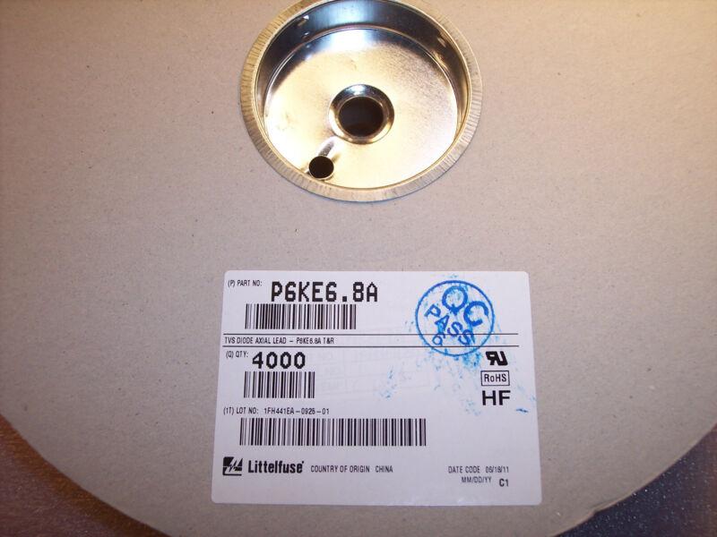 QTY (4000)  P6KE6.8A LITTELFUSE DO-15 UNIDIRECTIONAL TVS DIODES 6.8V 600W ROHS