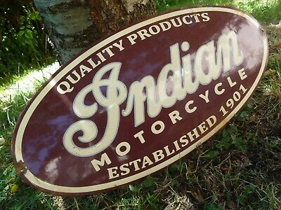 INDIAN Porcelain Sign Domed Vintage Motorcycle Advertising 24 Inches Old Chief