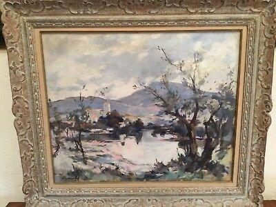 "Signed Bonnefoy oil painting canvas 32"" x 37.5"" impressionist lake scene SUPER Impressionistic Oil Painting"