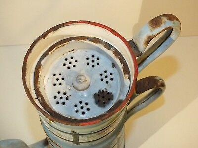 Ancienne grande cafetière filtre émaillée - décor de fleurs