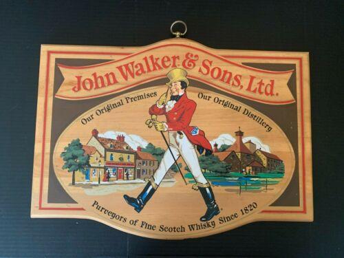 Vintage John Johnnie Walker & Sons Ltd. Scotch Whisky Wooden Bar Sign