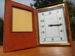 1940s VINTAGE ART DECO HENRY SOCHARD LEATHER FOTOCLOCK PHOTO TRAVEL ALARM CLOCK