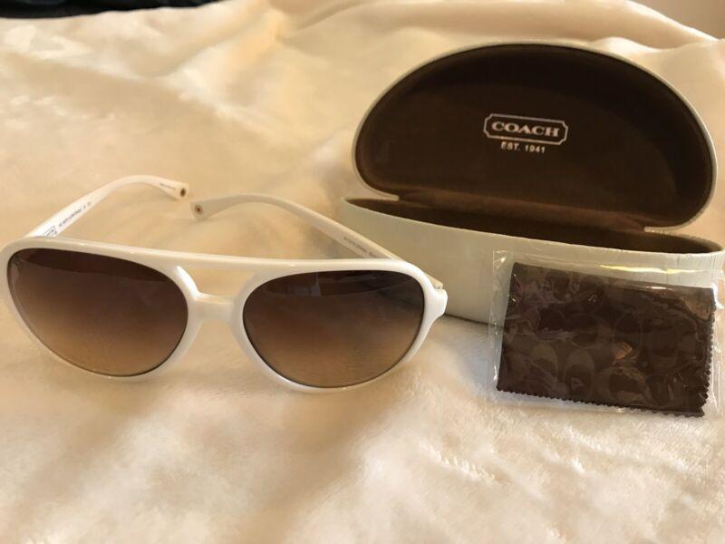 New! COACH Womens White Sunglasses w/Signature Clamshell Case & Microfiber Cloth