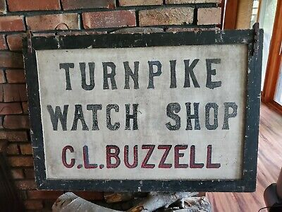 Antique VTG PA Turnpike Watchmaker Clock Repair Jeweler Double Sided Trade Sign