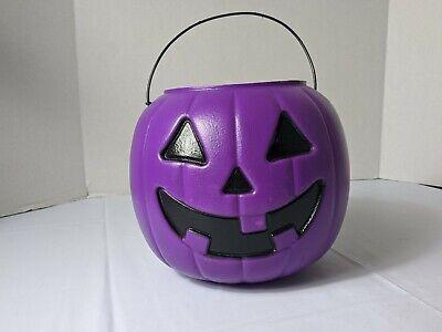 VTG Halloween General Foam Plastic Purple Pumpkin Jack'O Lantern Candy Bucket