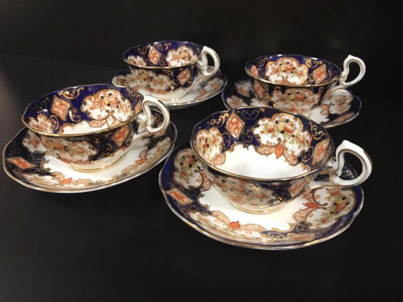4 Royal Albert Crown China HEIRLOOM Cups & Saucers