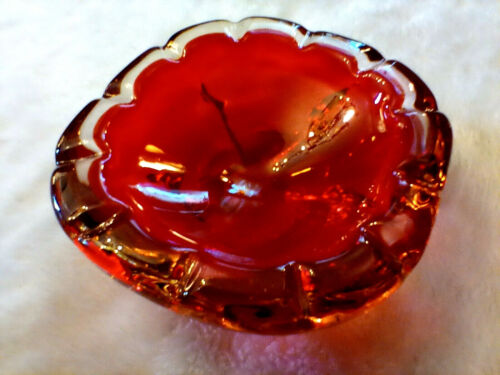 """VINTAGE MURANO STYLE RED ART GLASS HAND BLOWN ASHTRAY 6.5"""" 3LBS 5.2OZ"""