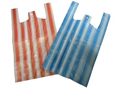 Cheap Candy Striped Pink/Blue Large 11x17x21'' Vest Style Plastic Carrier Bags