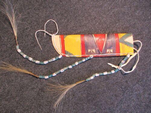 BEADED LEATHER PARFLECHE KNIFE SHEATH, NATIVE AMERICAN INDIAN SHEATH  #BUF-01482