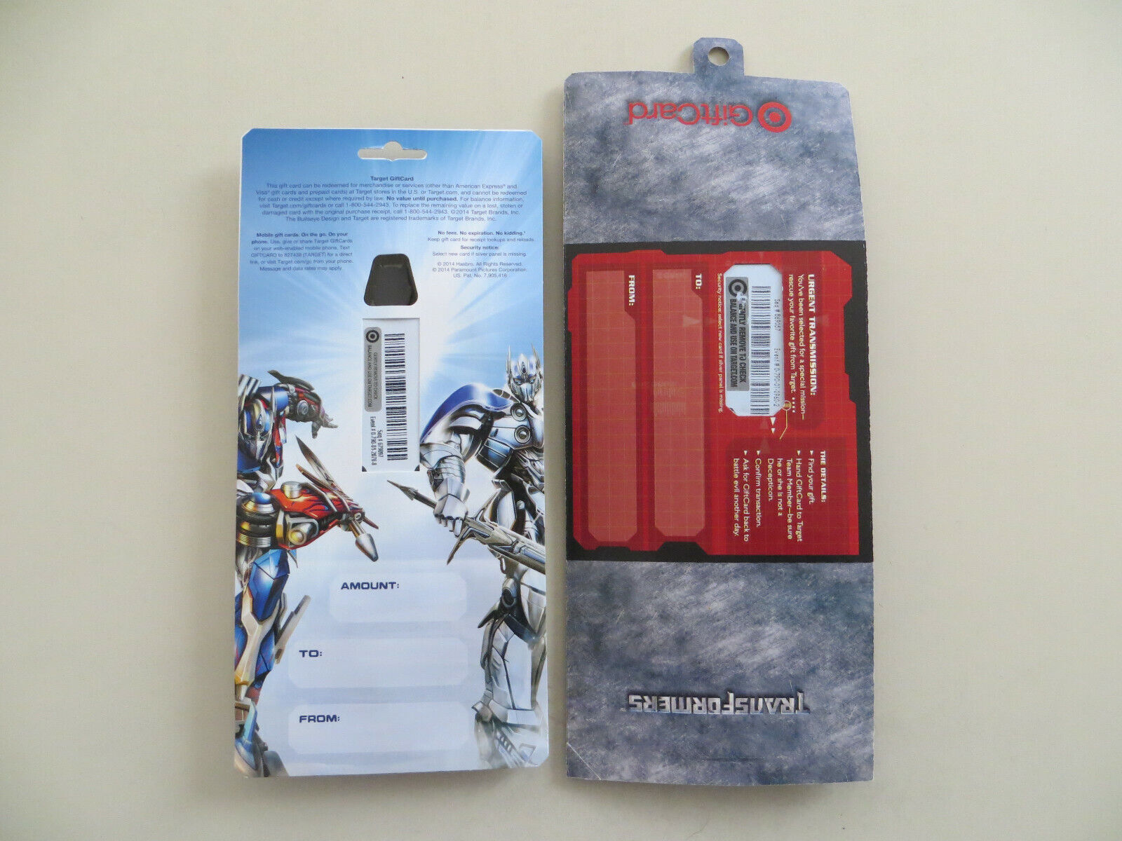 TARGET 2 DIFFERENT TRANSFORMERS GIFT CARDS - CARDS HAVE NO VALUE LOADED ON THEM - $19.99