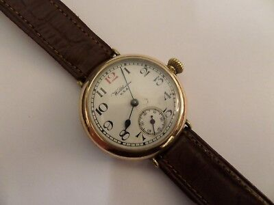 ANTIQUE GOLD PLATED WALTHAM TRENCH WATCH WW1 ERA . WORKING ORDER