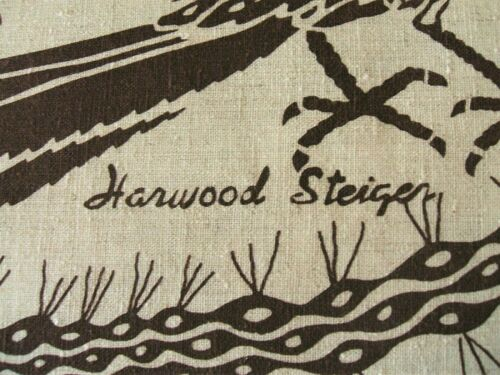 VINTAGE HARWOOD STEIGER ROADRUNNER BIRD & CACTUS FABRIC 2 PANELS 74 X 45 BROWN