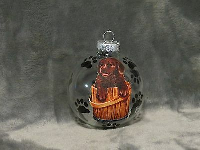 HAND MADE CHOCOLATE LABRADOR RETRIEVER PUPPY GLASS CHRISTMAS ORNAMENT / (Chocolate Labrador Retriever Puppies)