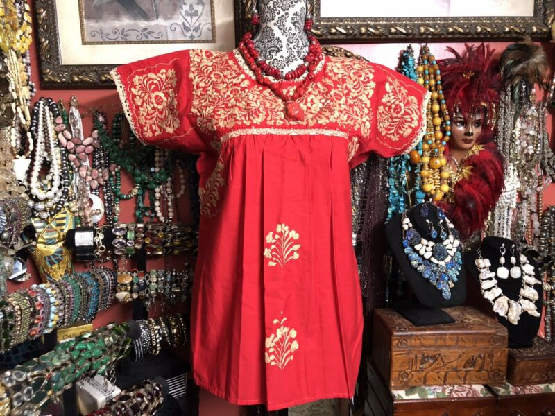 Absolutely Beautiful Red Vintage Mexican Oaxacan Beige Embroidery Dress Size M