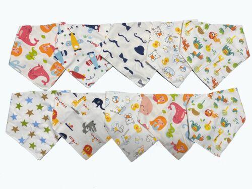 10er Set Baby Lätzchen Baumwolle Dreieckstuch Halstuch Spucktücher Sabbertuch