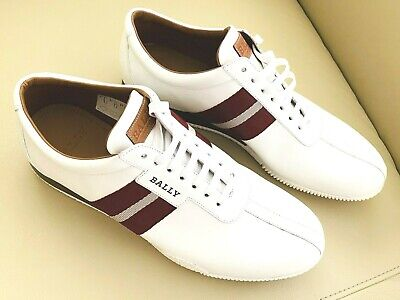 BALLY Frenz Mens logo White Leather Sneakers...Size 11D...New
