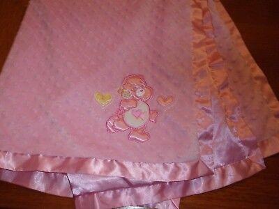 BABY BLANKET lovey  care bear bears heart satin  trim back flower minky dot Care Bear Infant Blankets