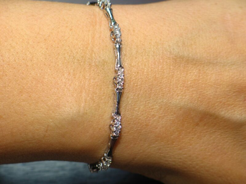 2.01 CT Natural Round Brilliant Cut Diamond Tennis Bracelet VS2/F 14K White Gold