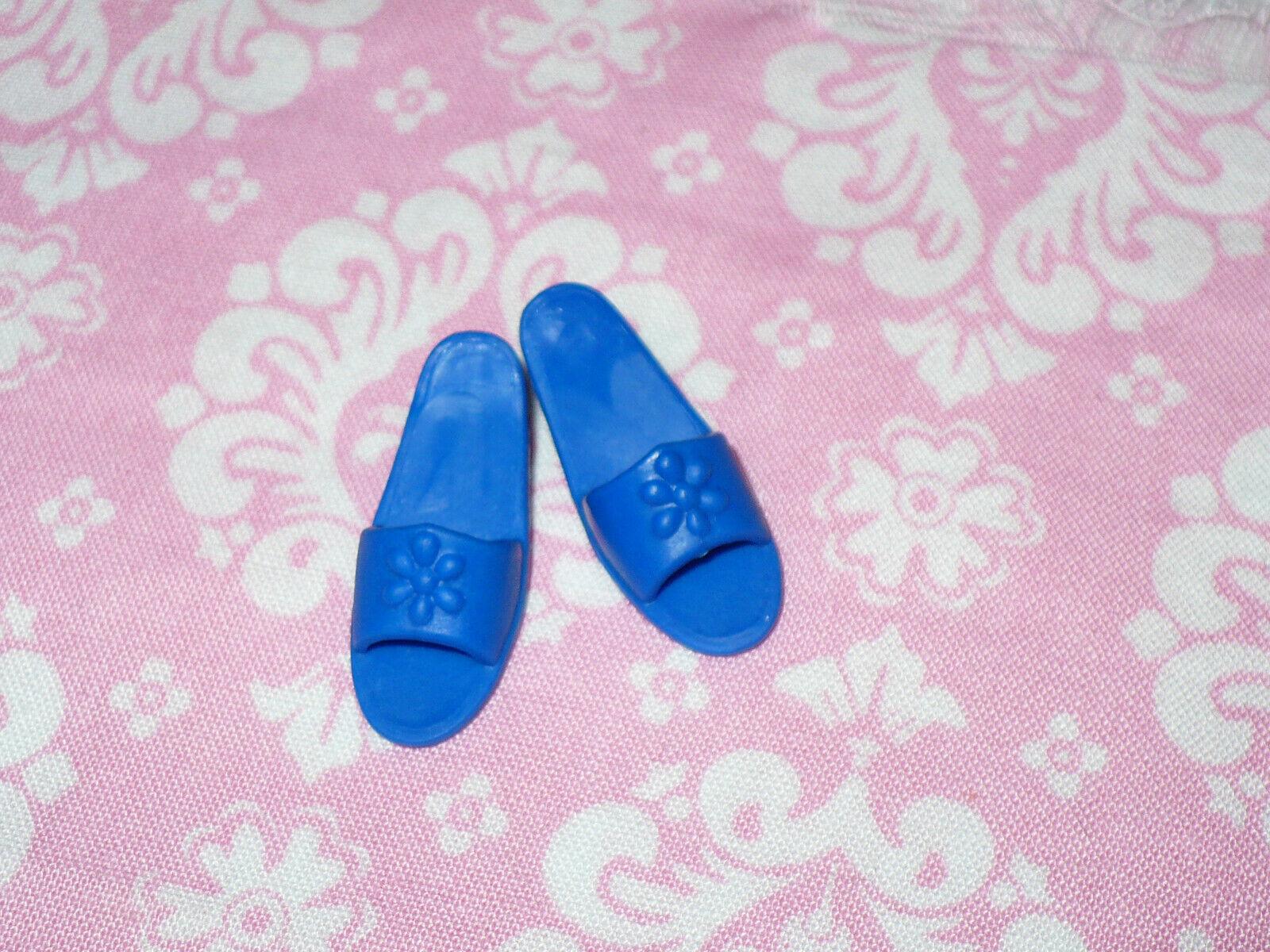 Mattel Barbie Doll Shoes Vintage TEEN SKIPPER FLAT FEET BLUE SLIDES SANDALS - $10.39