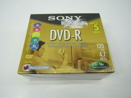 SONY DVD-R 5 PACK 120 MIN 4.7 GB RECORDABLE Media BLANK DISC NEW SEALED Colors