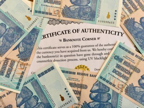 ZIMBABWE 100 TRILLION DOLLARS AA 2008 UNC AUTHENTIC, UV PASSED COA CERTIFICATE