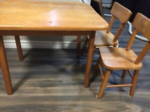 Solid Wood Child's Table & 2 Chairs