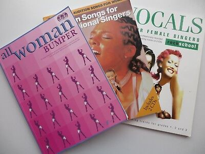 Joblot/Pack Of 3 Vocal Singing Exercise Books W/ Backing Track CDs & Sheet Music
