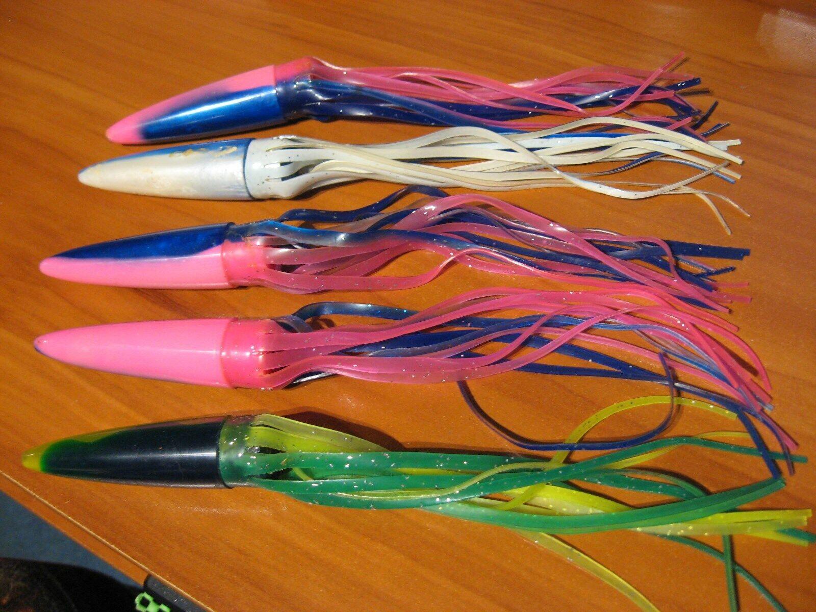 5 assorted 3 cone nose squid fishing