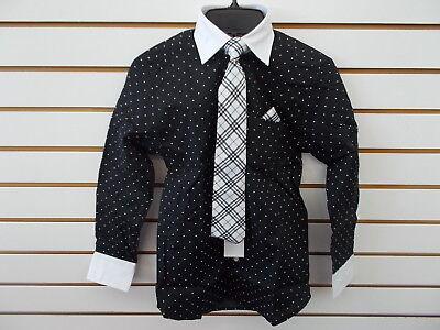 Boys Young Kings By Steve Harvey  40 Black W  Polka Dots Dress Shirt Sz 8   20