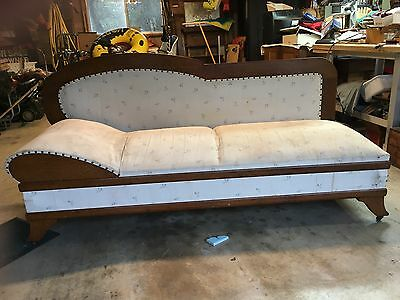 Fainting Couch - Antique Golden oak daybed, fainting couch